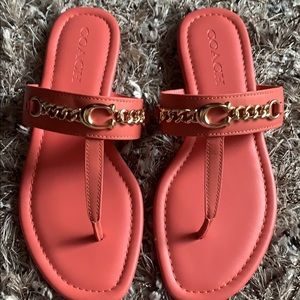 NWOT Coach Coral orange and gold sandals